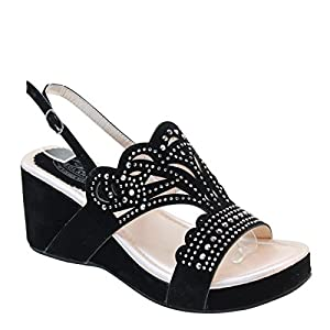 New Brieten Women's Bling Studded Cut-out Wedge Platform Slingbacks Comfort Sandals (5.5, Beige)