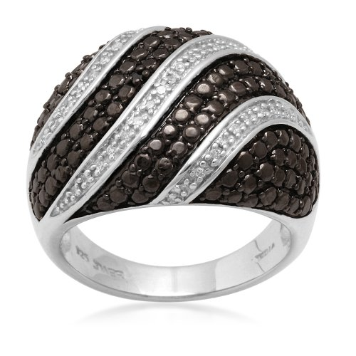 Sterling Silver Black and White Diamond Ring (1/10 cttw, I-J Color, I3), Size 8