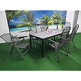 7-teilige Luxus Streckmetall Aluminium Spraystone Gartenmöbelgruppe von RRR und Dacore, Klappsessel und Gartentisch 180x90 anthrazit, P32