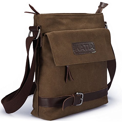 Mens Casual Canvas Cross Body   Shoulder Bag Brown