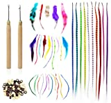 51Oe7g0uQtL. SL160  Shany Cosmetics Feather Hair Extension Kit, 8 Ounce (100 Piece Feather Hair, Hook, Beads, Feather Grizzly Solid Mix All In One)