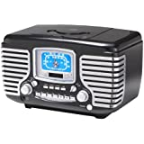 Crosley CR612-BK Corsair Retro AM/FM Radio with CD Player and Dual Alarm Clock (Black)