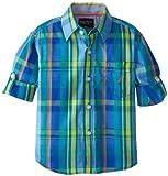 Nautica Boys 2-7 Plaid Button Down Shirt 2, Sea Blue, 3T thumbnail