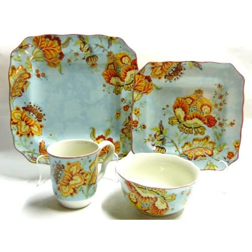 Gabrielle spring blue 222 fifth 16 pc for 222 fifth dinnerware