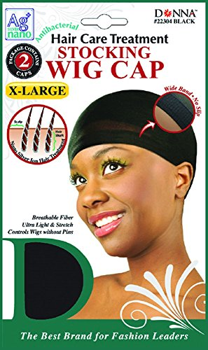 Donna's Antibacterial Hair Care Treatment Stocking Wig Cap 2 Caps X-Large (Black) (Dreadlock Stocking Cap compare prices)
