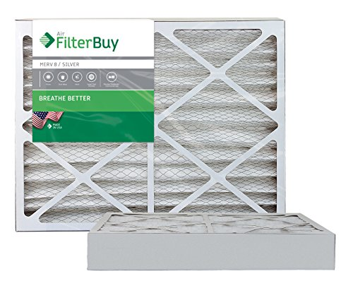 AFB Silver MERV 8 15x30x4 Pleated AC Furnace Air Filter. Pack of 2 Filters. 100% produced in the USA.