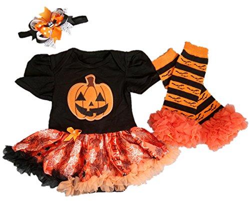 AISHIONY Baby Girls' 1st Halloween Onesie Tutu Outfit Newborn Party Dress 3PCS S (Halloween Girl)