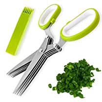 Runhai® 5 Blade Herb Onion Cutting Scissors Kitchen Tool Security Shredding Scissors Stainless Steel