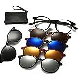 Magnetic Sunglasses Clip On Glasses Unisex Polarized Lenses TR90 Frame with 5 Lenses (2245, 52)