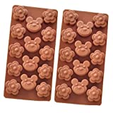 "eBuy 2pcs Silicone Plum flower and Bear Design Ice Cube Tray 7.7""*3.8"", Coffee"