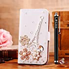 Locaa(TM) Apple IPod touch 5 Itouch5 3D Bling Case + Phone stylus + Anti-dust ear plug Deluxe Luxury Crystal Pearl Diamond Rhinestone eye-catching Beautiful Leather Retro Support bumper Cover Card Holder Wallet Cases - [General series] Eiffel Tower flower