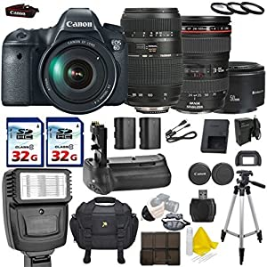 Canon EOS 6D 20.2MP Full Frame DSLR with Canon EF 24-105mm f/4 L IS USM + Tamron AF 70-300mm F/4-5.6 + Canon EF 50mm f/1.8 II + 2 Commander 32GB Memory Cards + Commander UV Filters