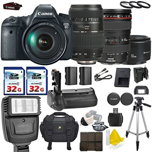 Canon EOS 6D 20.2MP Full Frame DSLR with Canon EF 24-105mm f/4 L IS USM + Tamron AF 70-300mm F/4-5.6 + Canon EF 50mm f/1.8 II + 2 Commander 32GB Memory Cards + Commander UV Filters (Dial Canon 6d compare prices)