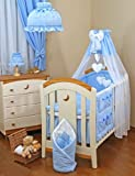 Lovely Baby Cuna (Drape + dosel. Free Standing rod-blue