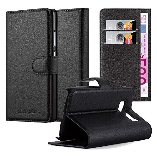 Cadorabo - Custodia Book Style Design Portafoglio per Alcatel ONE Touch POP C5 con Supporto Funzione e Vani di Carte - Etui Case Cover Involucro Bumper in NERO-CARBONE