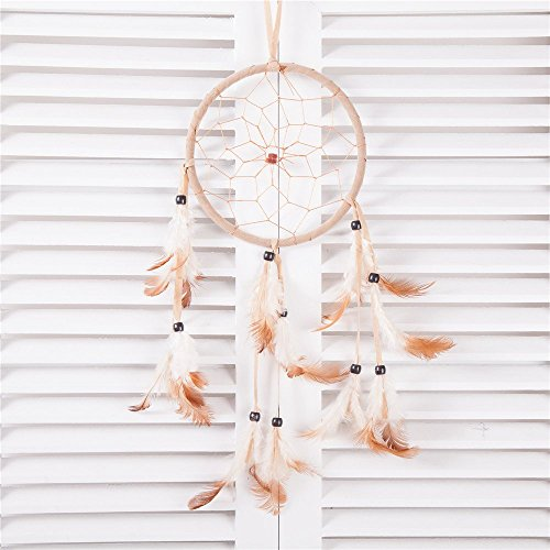 """15"""" Traditional Beige Dream Catcher with Feathers Wall or Car Hanging Ornament Single Circle"""