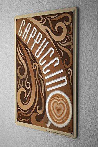 Cartello Targa In Metallo Ristorante Cucine Decorazione tazza di cappuccino Muro Di Piastra Metallica 20X30 cm