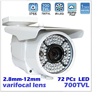 Surveillance Weatherproof Vari-Focal 2.8~12mm Manual Zoom Lens 700TVL Sony CCD 72pcs LEDs infrared Outdoor Bullet CCTV Security Camera