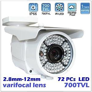Surveillance Weatherproof Vari-Focal 2.8~12mm Manual Zoom Lens 700TVL Sony CCD 72pcs LEDs infrared Outdoor Bullet CCTV Security Camera