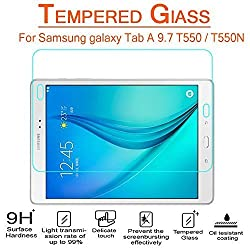 AnoKe Samsung galaxy Tab A 9.7 inch T550 / T550N / SM-T550NZBAXAR Tempered Glass Screen Protectors 9h Hardness, 0.3mm Thickness For Samsung galaxy Tab A 9.7 (T550)