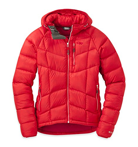 Outdoor Research - Piumino da donna Women' s Sonata Ultra Hooded Jacket, Donna, flame/scarlet, M