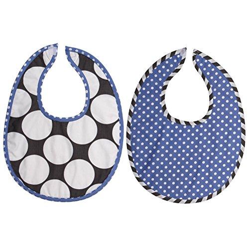 Bacati 2 Piece Dots/Pin Stripes Dots Bibs Set, Grey/Blue - 1