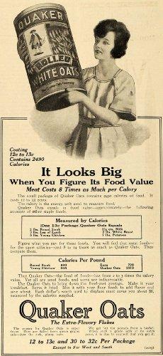 1918 Ad Quaker Rolled Oats Calorie Chart Food Value - ORIGINAL ADVERTISING - Original Print Ad