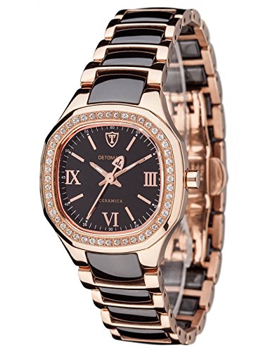 Detomaso CATERINA Rosegold DT3014-C Ladies DT3014-C - Reloj analógico de cuarzo para mujer, correa de cerámica multicolor