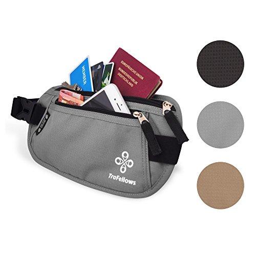 marsupio da viaggio con blocco RFID, per uomo e donna | marsupio sottile aderente | borsa da cintura per sportivi e viaggiatori | cintura per denaro piatta e spaziosa  Nero grigio