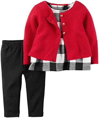 Carter's Baby Girls 3 Pc Sets, Red, 18M