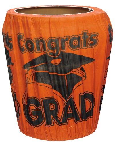 Orange Congrats Grad Graduation Trash Can Cover Party Supplies