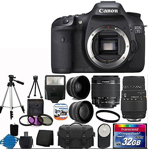 Canon Eos 7D 18Mp Cmos Digital Slr Camera With 3-Inch Lcd With Canon Ef-S 18-55Mm F/3.5-5.6 Is Camera Lens +Sigma Zoom Telephoto 70-300Mm F/4-5.6 Dg Macro Autofocus Lens + 58Mm 2X Professional Lens +High Definition 58Mm Wide Angle Lens + Auto Power Flash
