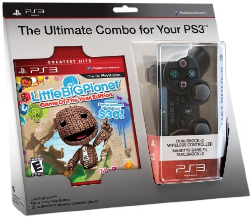 LittleBigPlanet Game of the Year Edition and Black DualShock 3 Wireless Controller Bundle