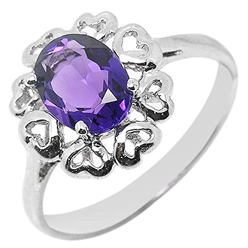 925 Sterling Silver Ring with Amethyst and White Clear CZ