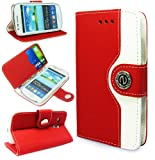 Magic Global Gadgets - New Stylish Red Premium Retro Luxury PU Leather Wallet Book Card Slot Folio Diary Case Cover Pouch For Samsung Galaxy S3 Mini i8190 With Screen Guard & Stylus