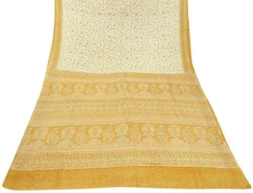 tessuto-vintage-india-stampato-floreale-100-seta-pura-saree-nero-etnico-sari-craft