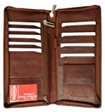 Zip Around Leather Travel Wallet with Passport and Boarding pass Holder by Marshal by NYC Leather Factory Outlet