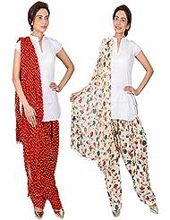 Womens Cottage Combo Pack Of 2 Printed Cotton Semi Patiala & Cotton Dupatta With Lace Set - B01G1GJTJ4