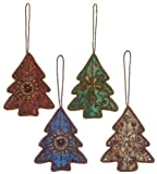 "Antique Style Embroidered and Sequined Tree Christmas Ornaments 4""x3.25"" Set of 4"