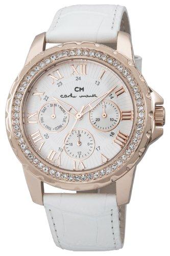 Carlo Monti Catania CM600-316 - Reloj analógico de cuarzo para mujer, correa de cuero color blanco