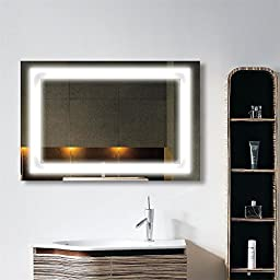 36 x 28 In Horizontal LED Bathroom Silvered Mirror with Touch Button C-010-I
