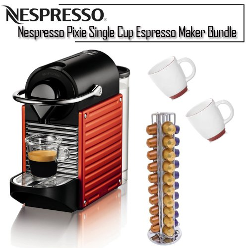 Nespresso K Cup Coffee Maker : bosch coffee maker: Nespresso C60USRENE Pixie C60 Single Cup Espresso Maker Bundle by Nespresso