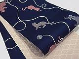 半巾帯 小袋帯 両面長尺細帯 猫柄 (紺)