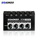 Aokeo Super Compact 4-Channel Stereo Headphone Amplifier with DC 12V Power Adapter for Sound Reinforcement, Studio, Stage, Choir, Features Ultra Low N
