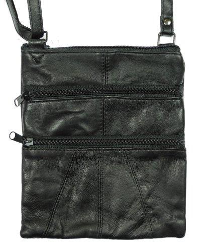 Unisex Leather Cross Body Organiser Shoulder Messenger Man Bag Black