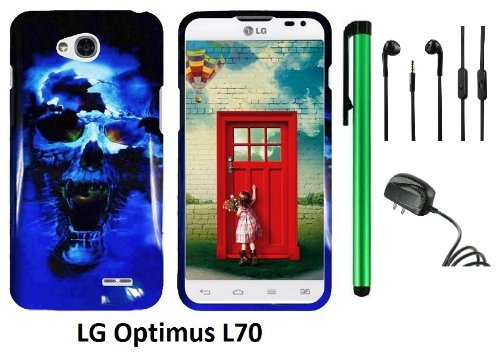 Lg Optimus L70 (Ms323) Premium Pretty Design Protector Hard Cover Case + Travel (Wall) Charger + 3.5Mm Stereo Earphones + 1 Of New Assorted Color Metal Stylus Touch Screen Pen (Blue Skull On Black)