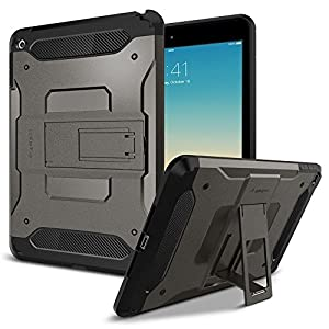 iPad Mini 4 Case, Spigen® [Tough Armor] Kick-Stand [Gunmetal] HEAVY DUTY EXTREME Protection / Rugged but Slim Dual Layer Protective Cover for iPad Mini 4 (2015) - Gunmetal (SGP11737)