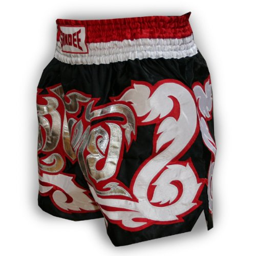 Sandee Dominance Satin Thai Shorts - Black/silver - Size 2XS (For Boxing, MMA, UFC, Muay Thai)