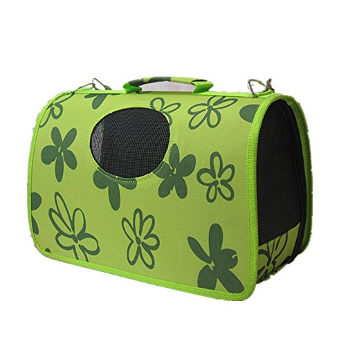FFMODE Soft Pet Carrier Cat Dog Comfort Travel Bag Tote Shoulder Bag Approved Green Flowers, S, 14.5″L x 9.5″W x 9″H