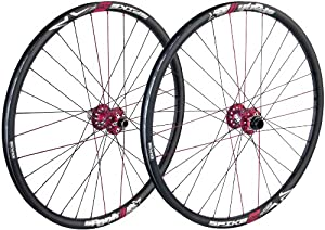 "Spank Spike Race28 Wheel Set MTB - 26 x 1.75"" Black Rim, (150mm R OLD, Red Hub)"